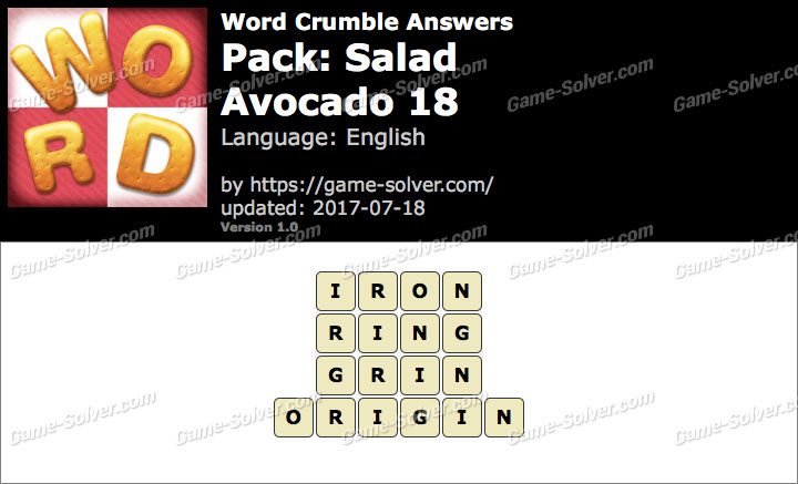 Word Crumble Salad-Avocado 18 Answers