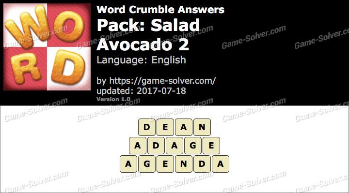 Word Crumble Salad-Avocado 2 Answers