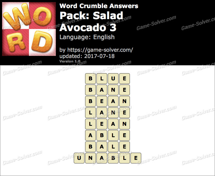 Word Crumble Salad-Avocado 3 Answers