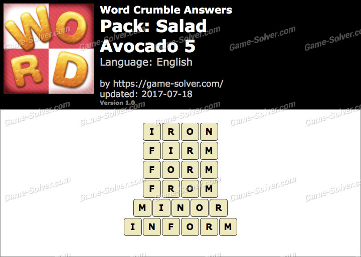 Word Crumble Salad-Avocado 5 Answers