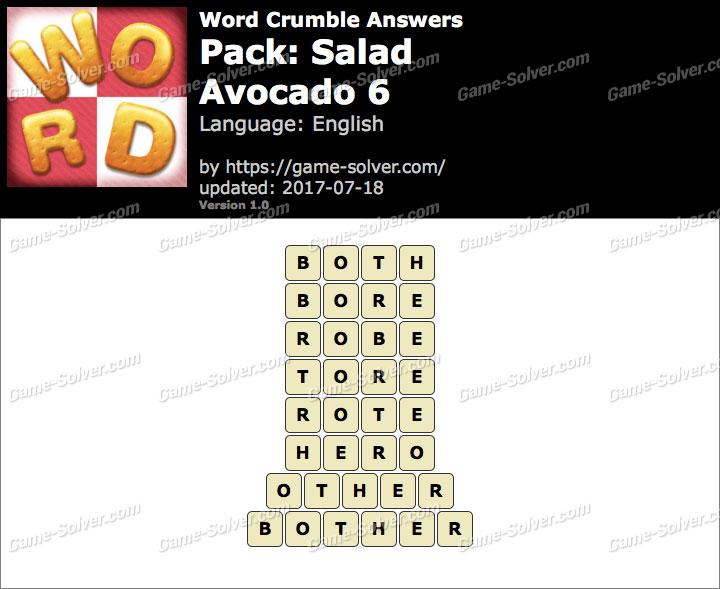 Word Crumble Salad-Avocado 6 Answers