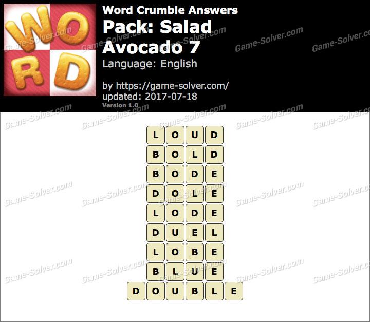 Word Crumble Salad-Avocado 7 Answers