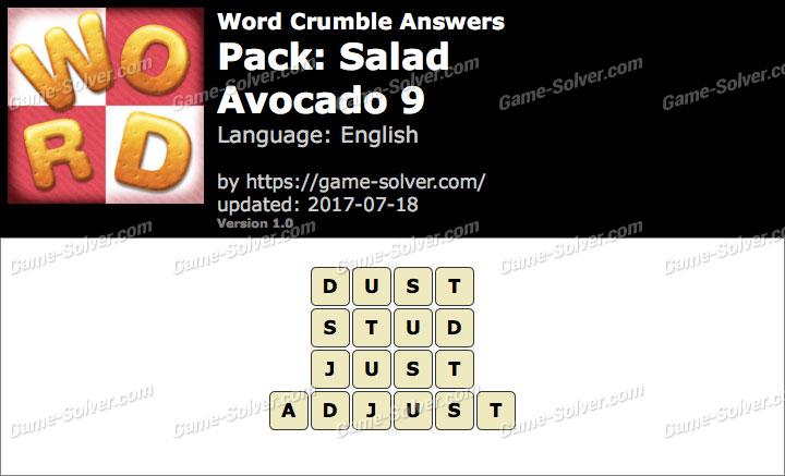 Word Crumble Salad-Avocado 9 Answers