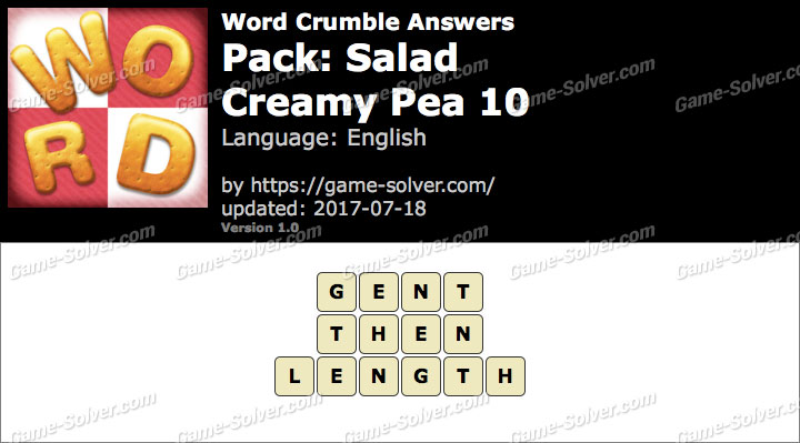 Word Crumble Salad-Creamy Pea 10 Answers