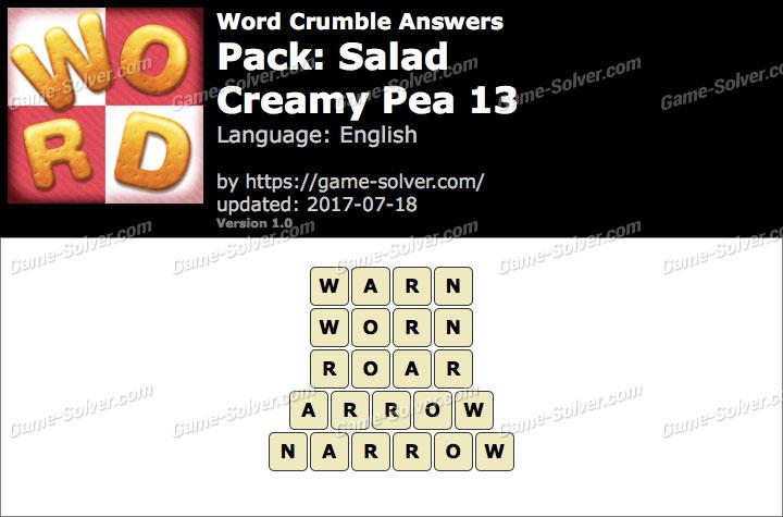 Word Crumble Salad-Creamy Pea 13 Answers