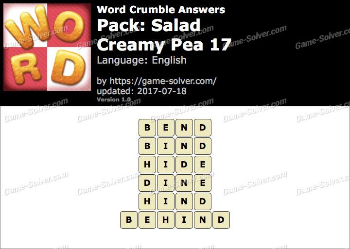 Word Crumble Salad-Creamy Pea 17 Answers