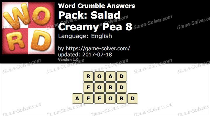 Word Crumble Salad-Creamy Pea 8 Answers