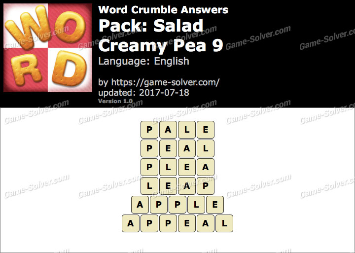 Word Crumble Salad-Creamy Pea 9 Answers