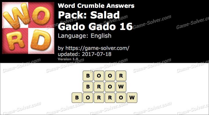 Word Crumble Salad-Gado gado 16 Answers