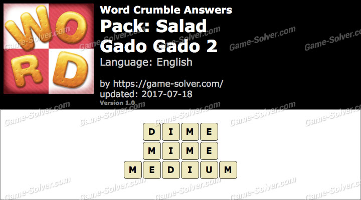 Word Crumble Salad-Gado gado 2 Answers