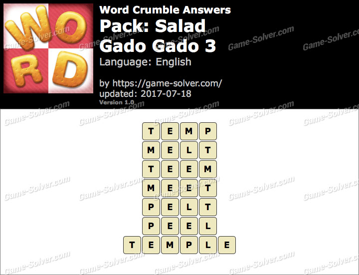 Word Crumble Salad-Gado gado 3 Answers