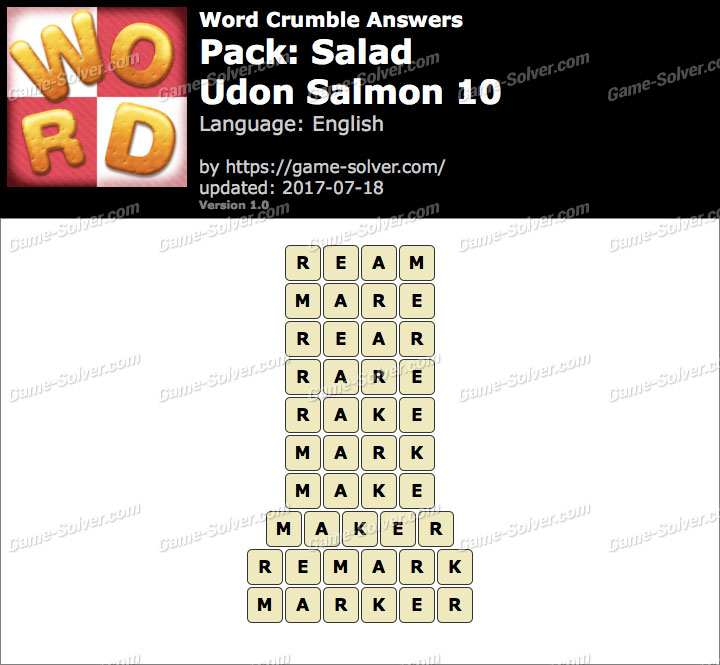 Word Crumble Salad-Udon Salmon 10 Answers