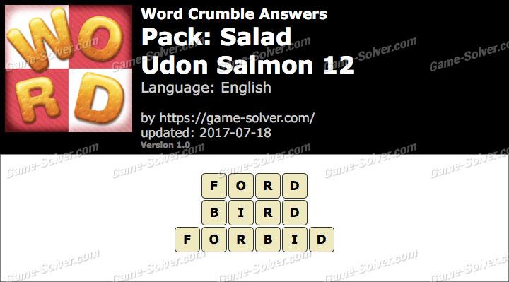 Word Crumble Salad-Udon Salmon 12 Answers