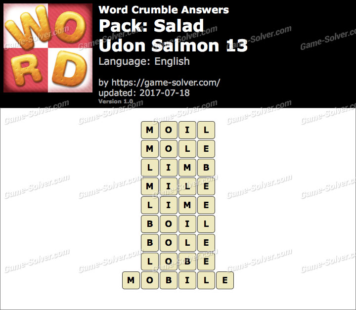 Word Crumble Salad-Udon Salmon 13 Answers