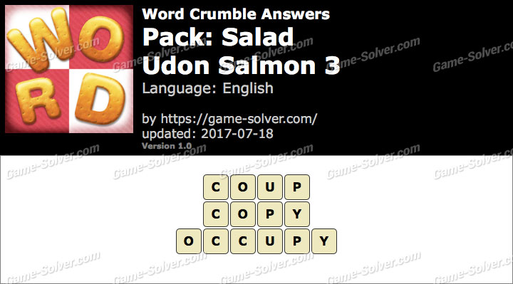 Word Crumble Salad-Udon Salmon 3 Answers
