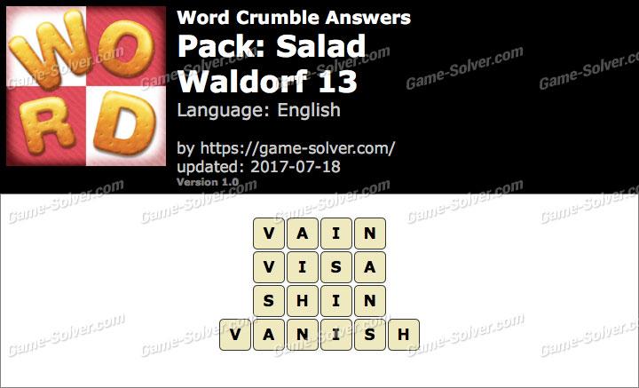 Word Crumble Salad-Waldorf 13 Answers