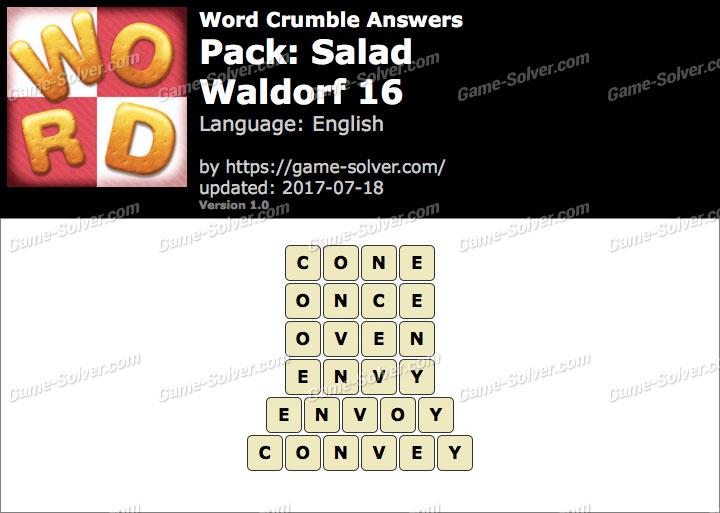 Word Crumble Salad-Waldorf 16 Answers