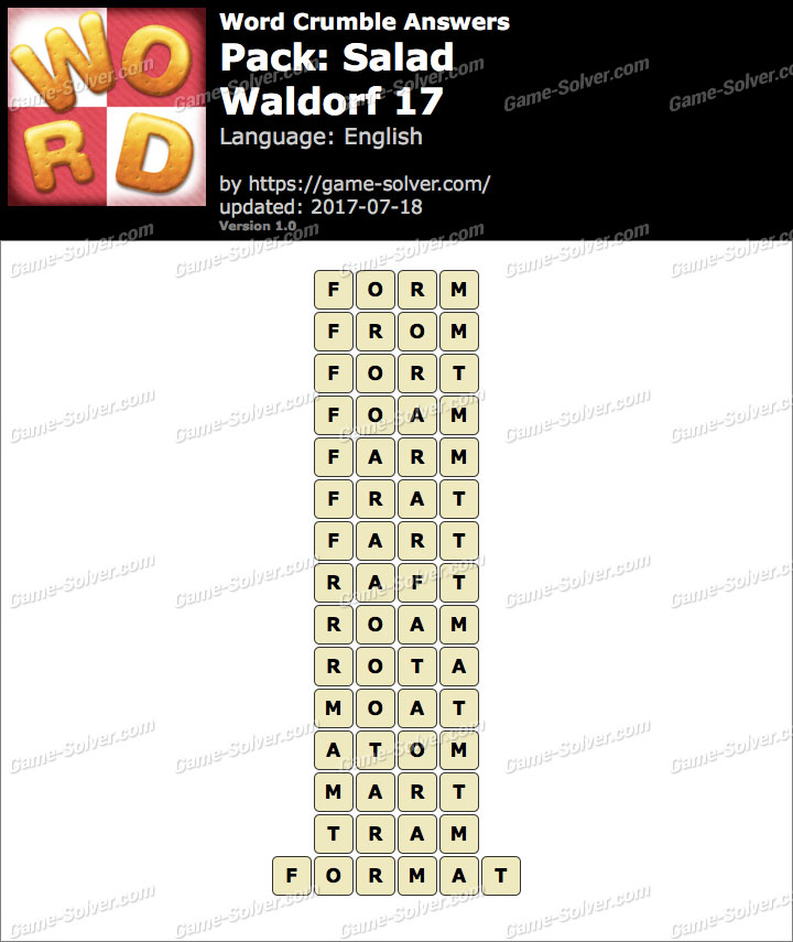 Word Crumble Salad-Waldorf 17 Answers