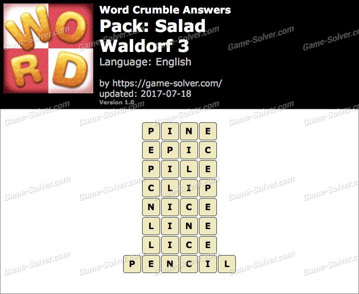 Word Crumble Salad-Waldorf 3 Answers