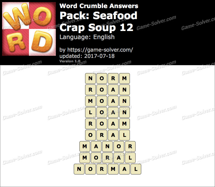 Word Crumble Seafood-Crap Soup 12 Answers