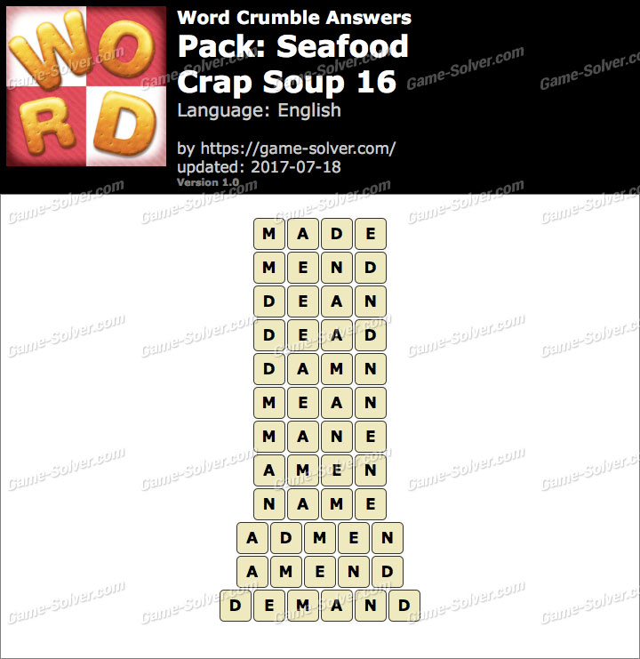 Word Crumble Seafood-Crap Soup 16 Answers