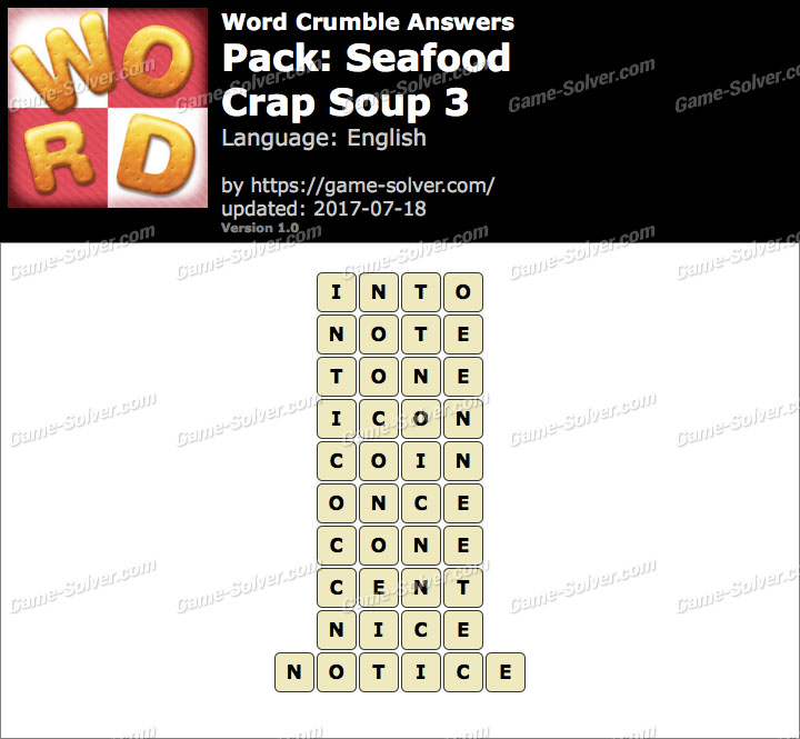 Word Crumble Seafood-Crap Soup 3 Answers