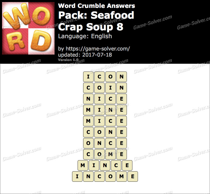 Word Crumble Seafood-Crap Soup 8 Answers