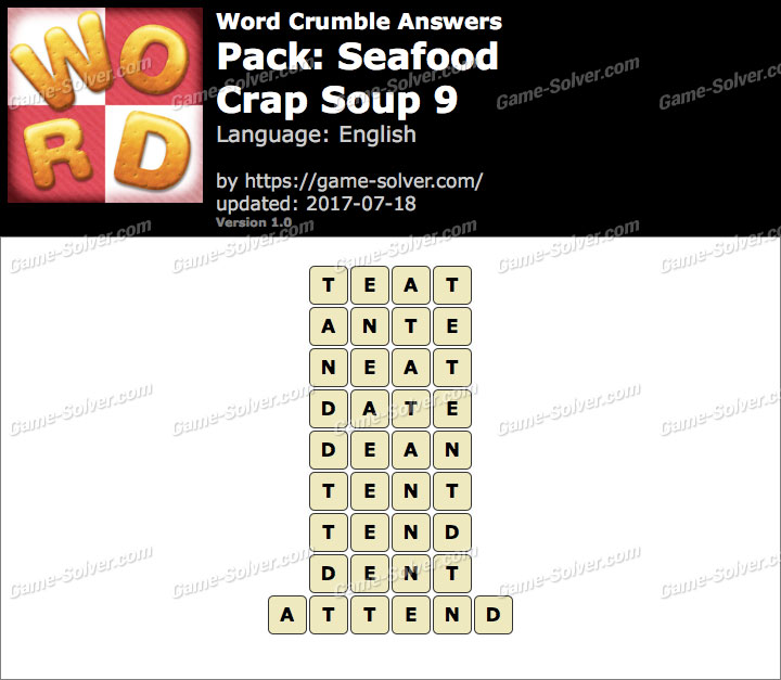 Word Crumble Seafood-Crap Soup 9 Answers