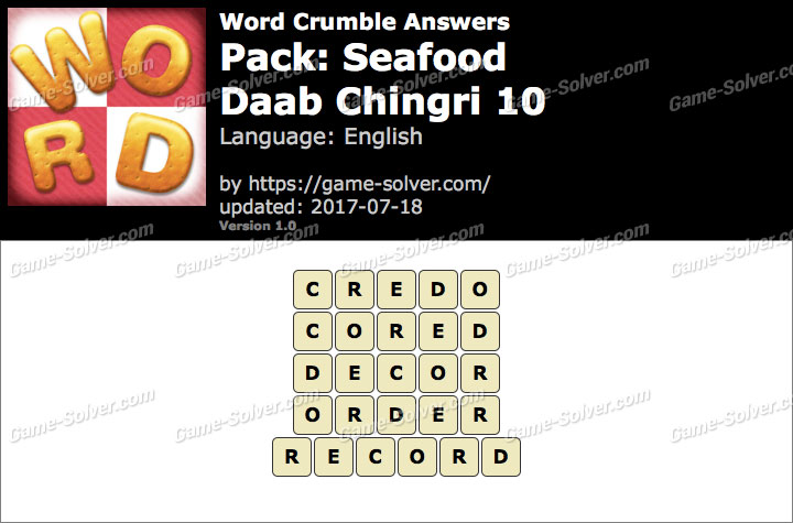 Word Crumble Seafood-Daab Chingri 10 Answers