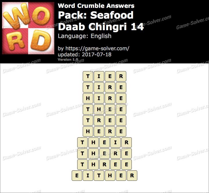 Word Crumble Seafood-Daab Chingri 14 Answers