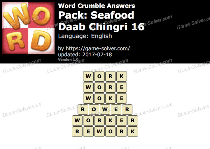 Word Crumble Seafood-Daab Chingri 16 Answers