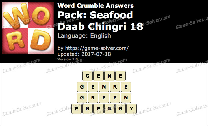 Word Crumble Seafood-Daab Chingri 18 Answers