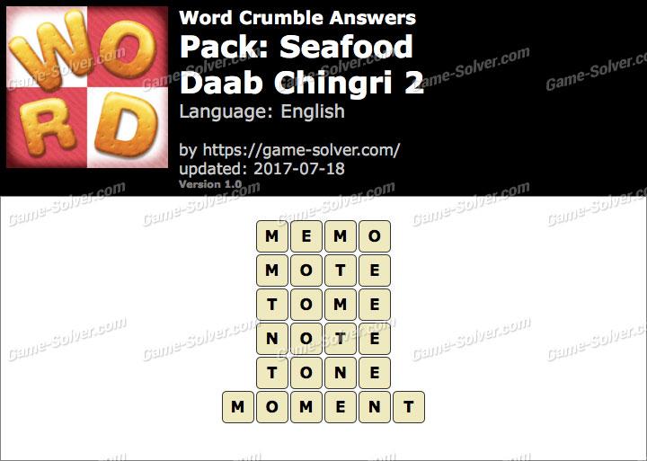 Word Crumble Seafood-Daab Chingri 2 Answers