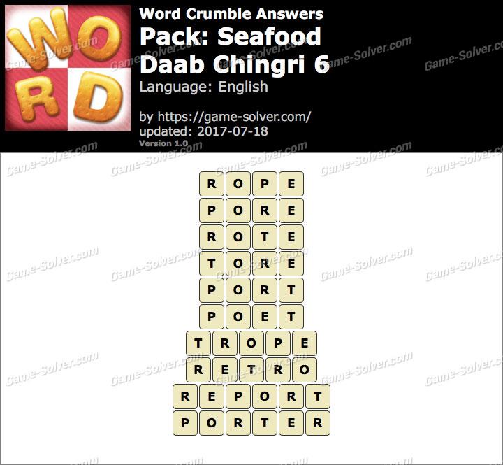Word Crumble Seafood-Daab Chingri 6 Answers