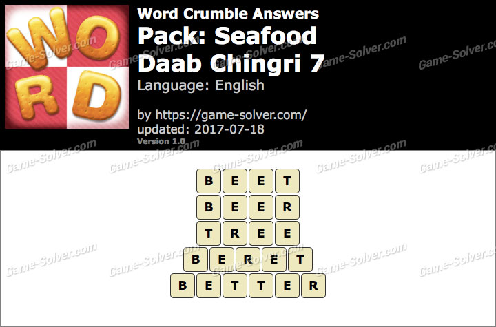Word Crumble Seafood-Daab Chingri 7 Answers