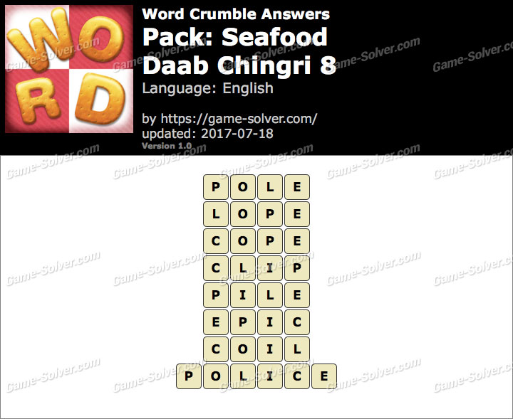 Word Crumble Seafood-Daab Chingri 8 Answers