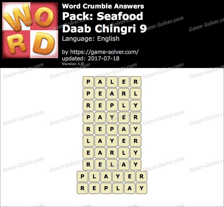 Word Crumble Seafood-Daab Chingri 9 Answers