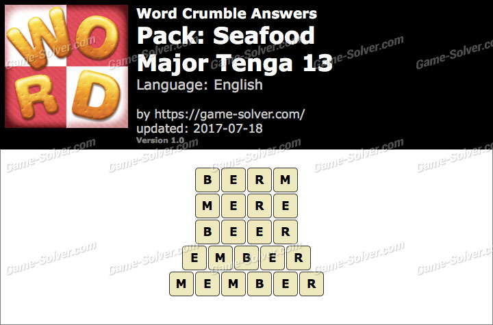 Word Crumble Seafood-Major Tenga 13 Answers