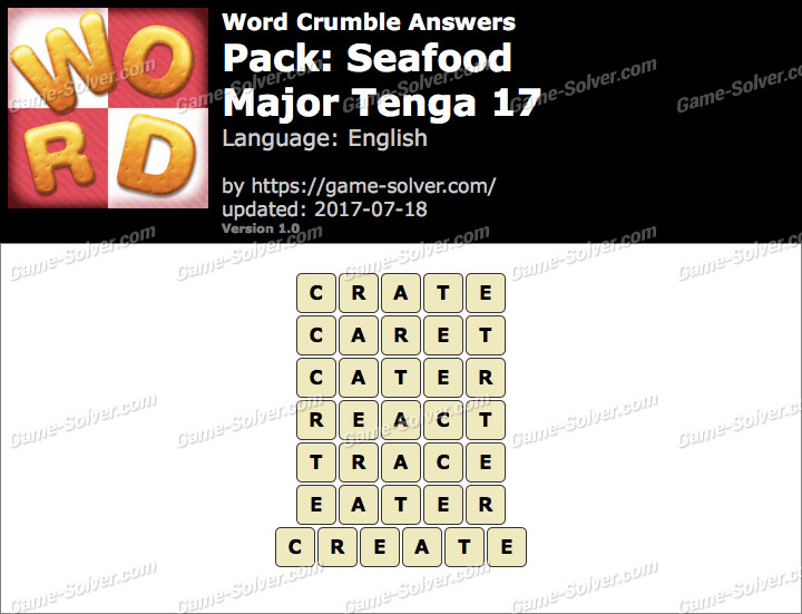 Word Crumble Seafood-Major Tenga 17 Answers
