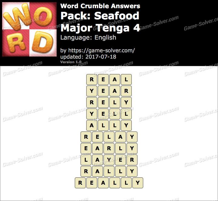 Word Crumble Seafood-Major Tenga 4 Answers