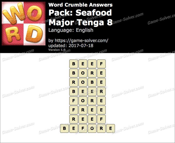 Word Crumble Seafood-Major Tenga 8 Answers