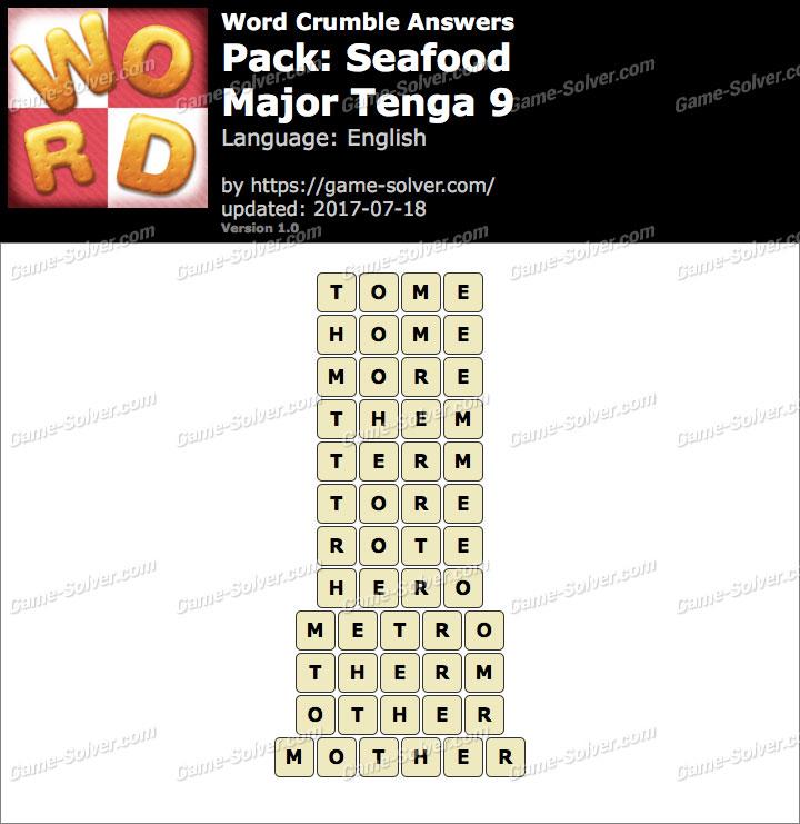 Word Crumble Seafood-Major Tenga 9 Answers