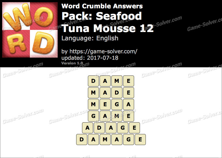 Word Crumble Seafood-Tuna Mousse 12 Answers