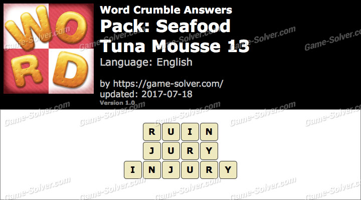 Word Crumble Seafood-Tuna Mousse 13 Answers