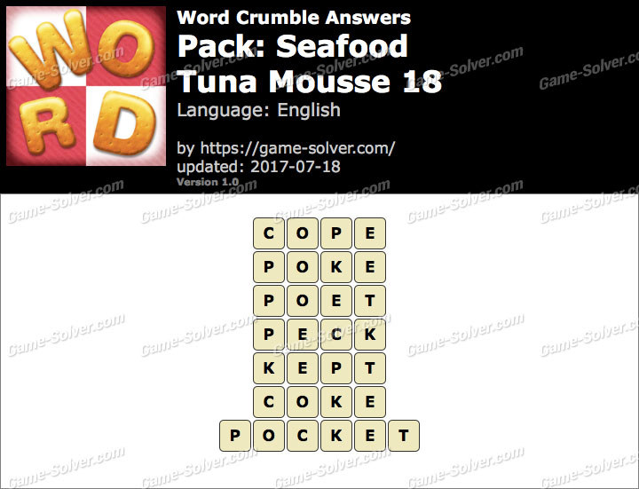 Word Crumble Seafood-Tuna Mousse 18 Answers