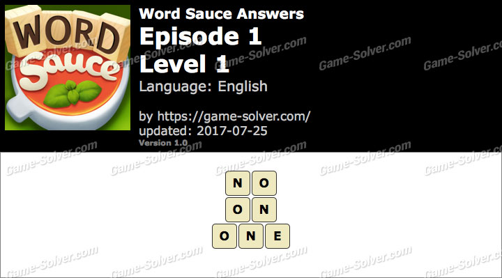 Word Sauce Episode 1-Level 1 Answers