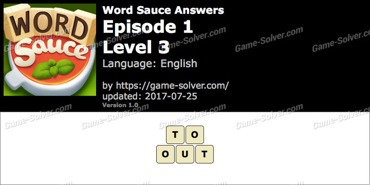 Word Sauce Episode 1-Level 3 Answers