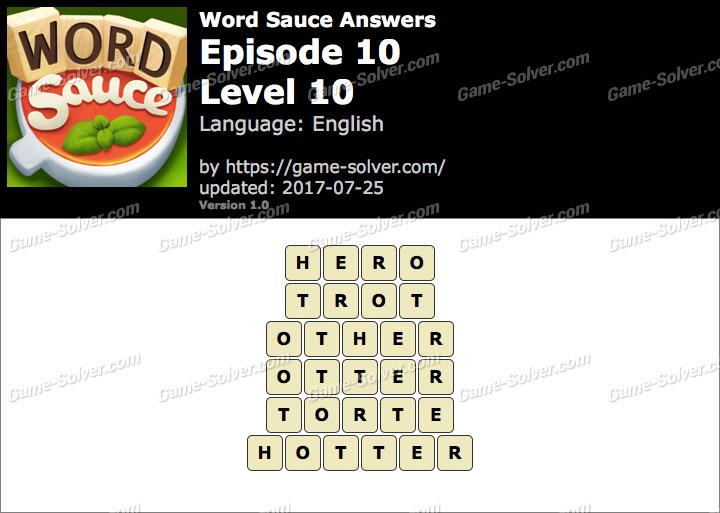 Word Sauce Episode 10-Level 10 Answers