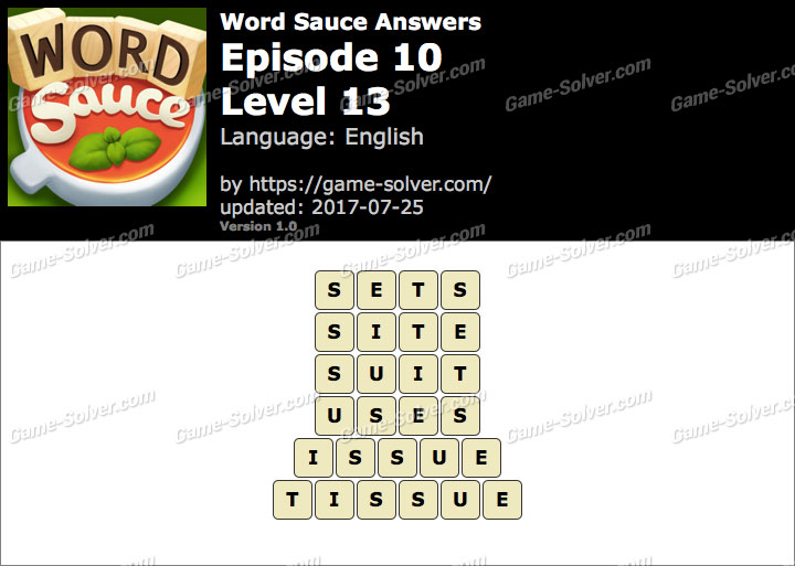 Word Sauce Episode 10-Level 13 Answers
