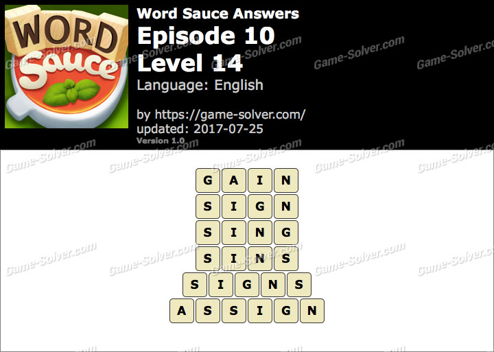 Word Sauce Episode 10-Level 14 Answers
